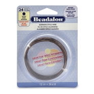 Beadalon German Style Wire 24Gauge Round Antique Brass