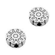 DQ European metal beads disc flower Antique Silver (nickel free)