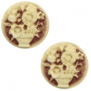 Basic cabochon cameo 20mm bouquet Brown-Antique Gold