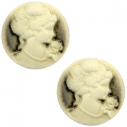 Basic cabochon cameo 20mm Black-Antique Gold