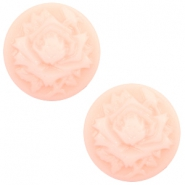 Basic cabochon cameo 12mm rose Light Pink-Off White