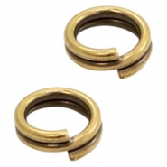 DQ European metal findings split ring 7mm Antique Bronze (nickel free)