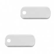 DQ European metal charms tag oblong 5x12mm Silver shiny (nickel free)
