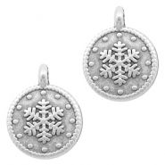 DQ European metal charms snowflake 12mm Antique Silver (nickel free)