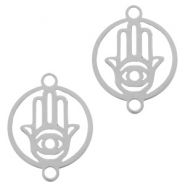 Stainless steel charms connector Hamsa hand 15mm Silver