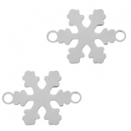 Stainless steel charms connector snowflake Silver