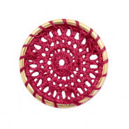 Crochet pendants round 33mm Gold-Port Red