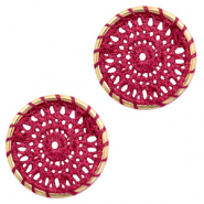 Crochet pendants round 22mm Gold-Port Red