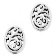 DQ European metal beads oval Antique Silver (nickel free)
