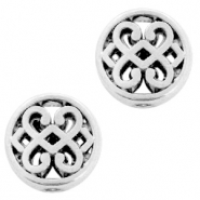 DQ European metal beads round 11mm Celtic style hearts Antique Silver (nickel free)