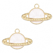 Metal charms planet Gold-White glitter