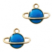 Metal charms Saturn Gold-Blue