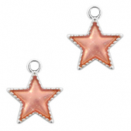 Metal charms star Silver-Peach