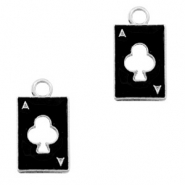 Metal charms playing card clover Silver-Black