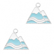 Metal charms mountaintop Silver-Blue White