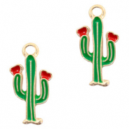 Metal charms cactus Gold-Red Green