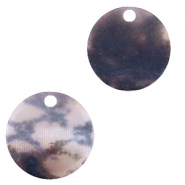 Resin pendants round 12mm snake matt Grey-Dark Blue