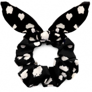 Scrunchie hair tie dots print bow Black