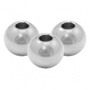 Stainless Steel findings beads round 6mm (Ø2.4mm) Silver
