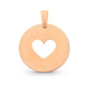 Stainless steel charms round 12mm heart Mix&Match Rose Gold