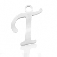 Stainless steel charms initial T Silver
