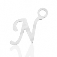 Stainless steel charms initial N Silver