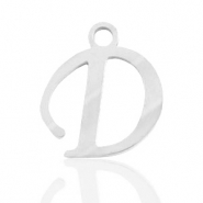 Stainless steel charms initial D Silver