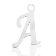 Stainless steel charms initial A Silver