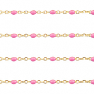 Stainless steel findings belcher chain 1mm Pink-Gold