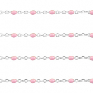 Stainless steel findings belcher chain 1mm Light Pink-Silver