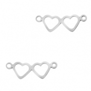 Stainless steel charms connector hearts Silver