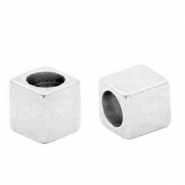 DQ European metal beads cube Antique Silver (nickel free)
