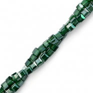Top faceted beads cube 2x2mm Forest Green-Pearl Shine Coating