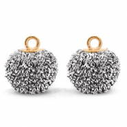 Pompom charms with loop glitter 12mm Black Silver-Gold