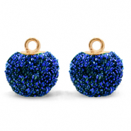 Pompom charms with loop glitter 12mm Cobalt Blue-Gold