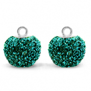 Pompom charms with loop glitter 12mm Fir Green-Silver