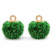 Pompom charms with loop glitter 12mm Irish Green-Gold
