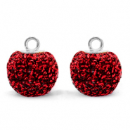 Pompom charms with loop glitter 12mm Salsa Red-Silver