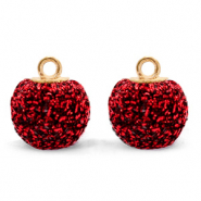 Pompom charms with loop glitter 12mm Salsa Red-Gold
