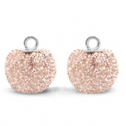 Pompom charms with loop glitter 12mm Silver Pink-Silver