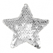 Charm with 1 eye sequin star Silver