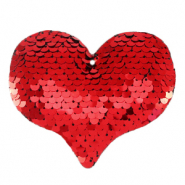 Charm with 1 eye sequin heart Red