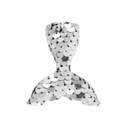 Charm with 1 eye sequin mermaid tail Silver