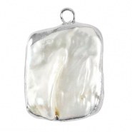 Freshwater pearls charm asymmetric Silver-Natural White