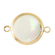Freshwater pearls connector round 15mm Gold-Natural White