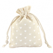 Jewellery Linen Bag Hearts Off White