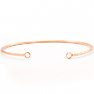 DQ European metal findings bangle bracelet with 2 loops Rose Gold (nickel free)
