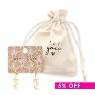 Gift deal 3 |  linen jewellery bag + a set of stainless steel earrings Love gold