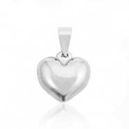 Stainless steel charms heart rounded Silver