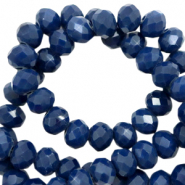 Top faceted beads 4x3mm disc Ensign Blue-Pearl Shine coating